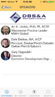 Conference App Speakers List